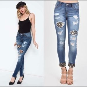 🐆KanCan Leopard patchy distressed jeans🐆